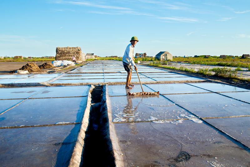 Salt workers working on salt fields. This location used to be the largest salt production site in Northern Vietnam but now almost royalty free stock photography