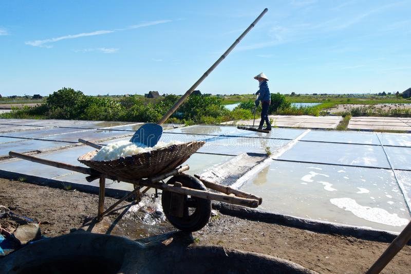 Salt workers working on salt fields. This location used to be the largest salt production site in Northern Vietnam but now almost royalty free stock photo