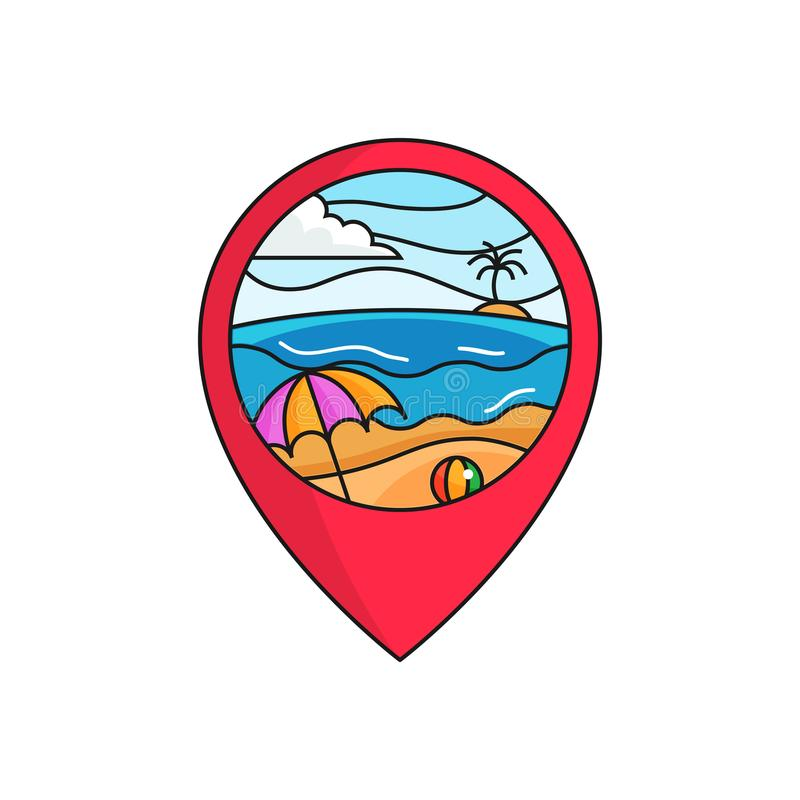 Bach map pin locator logo badge. sunny weather beach holiday scene illustration with circle frame. stock illustration