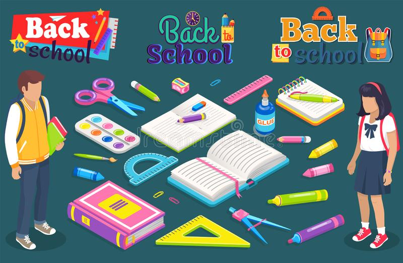 Back to School Boy Girl with Supplies for Lesson stock illustration