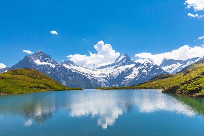 Bachalpsee och snömaxima av den Jungfrau regionen fotografering för bildbyråer