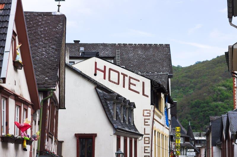 Bacharach, Γερμανία, παραδοσιακά ξενοδοχεία στην πόλη στοκ εικόνες