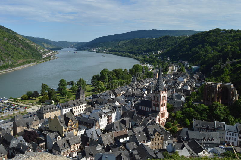 Bacharach with river rhine in Germany. City of Bacharach with river rhine Unesco world heritage stock photography