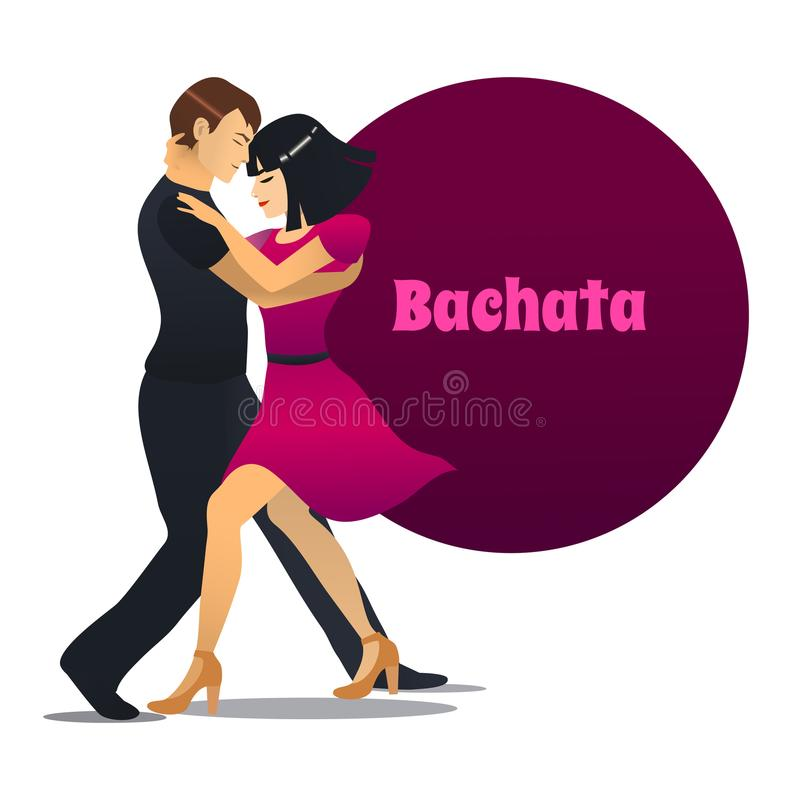 Bachata Dancing Couple in Cartoon Style. Bachata Dancers. Dancing Couple in Cartoon Style for Fliers Posters Banners Prints of Dance School and Studio. Vector vector illustration