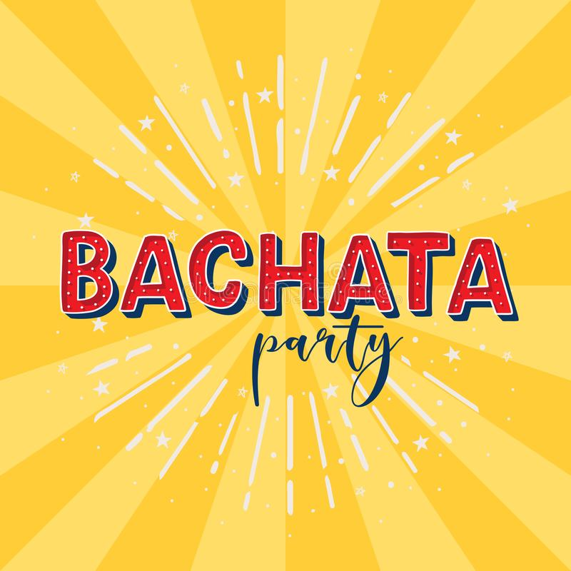 Bachata party. Vector logotype. Yellow rays background. Poster for dance party, cards, banners, t-shirts, dance studio vector illustration