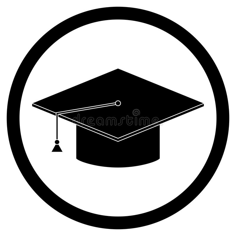 Bachelor cap icon. Graduation education hat, bachelorette and mortar, master and bachelor stock illustration