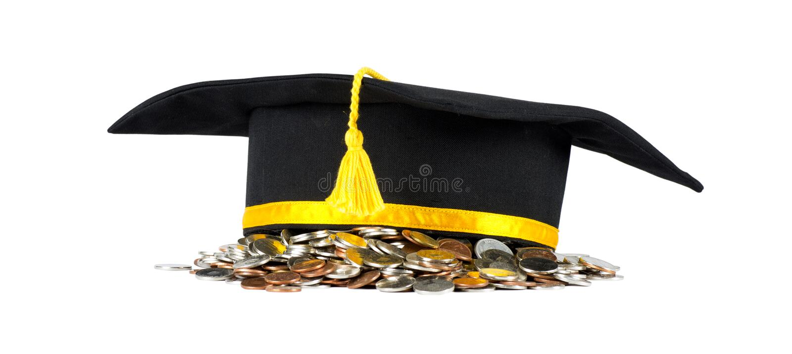 Bachelor with coins. royalty free stock photography