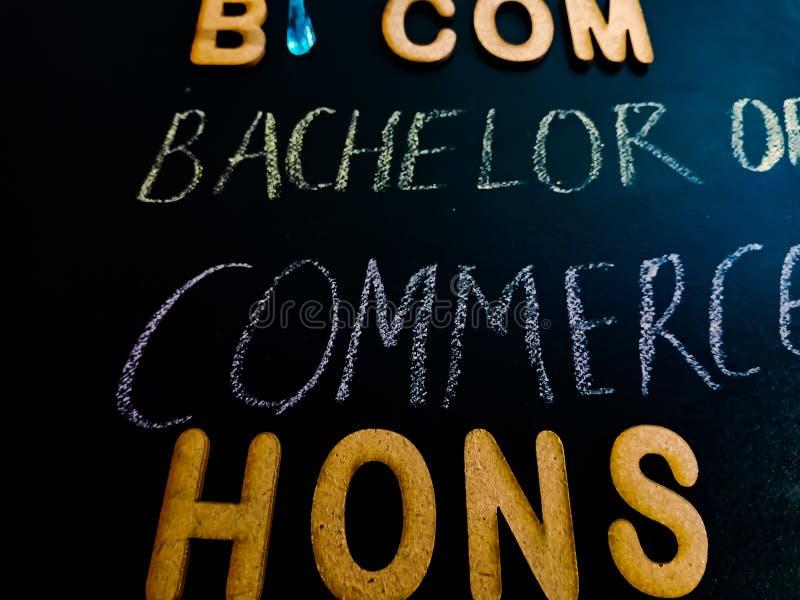 bachelor of commerce hons degree op chalkboard concept stock afbeeldingen