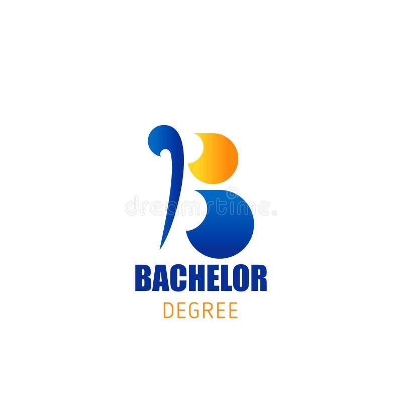 Bachelor degree education vector letter B icon royalty free illustration