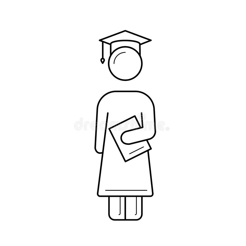 Bachelor in graduation cap vector line icon. vector illustration