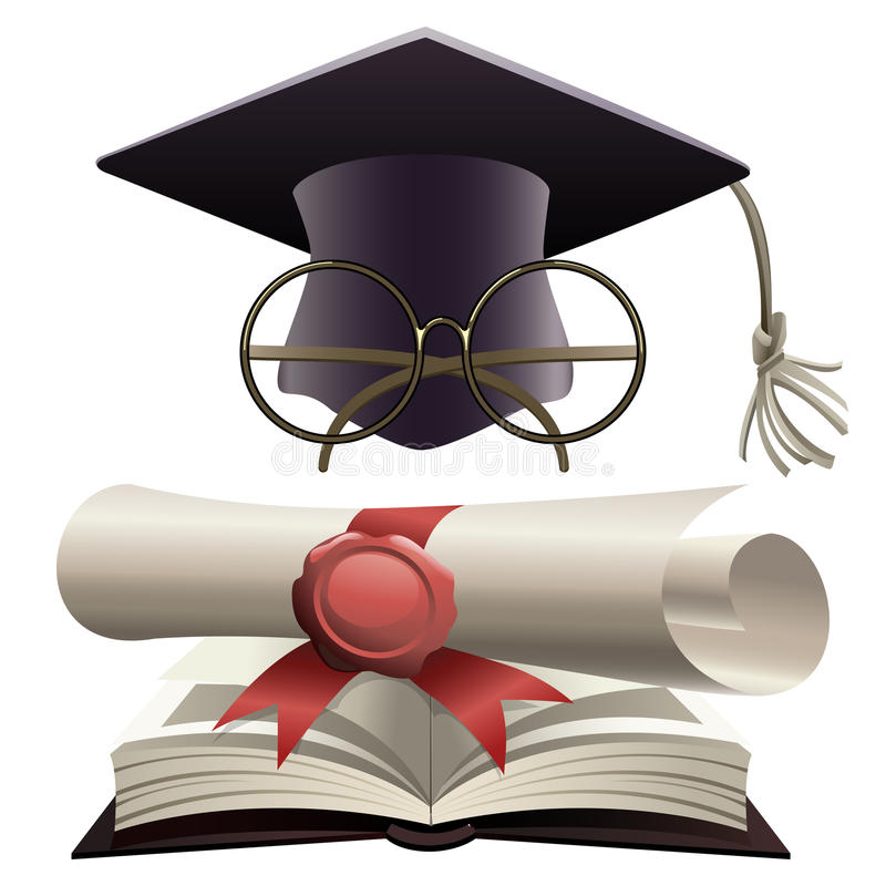 Bachelor hat with glasses and diploma. Illustration of bachelor hat with glasses and diploma on a huge book of knowledge as metaphor of education stock illustration