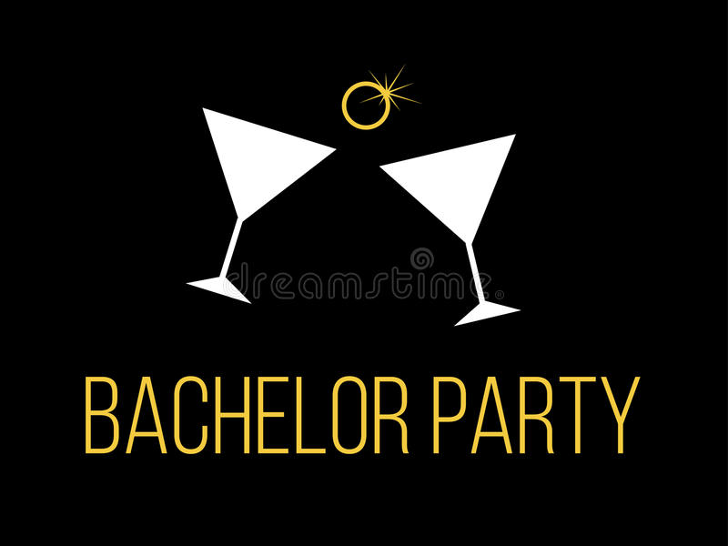 Bachelor party. Backgrounf wih illustration of bachelor party stock illustration