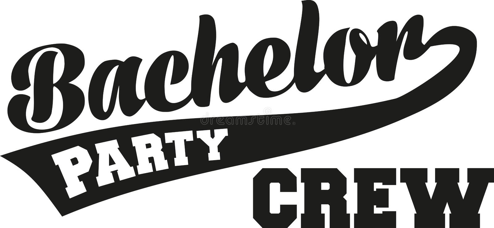 Bachelor party crew with retro font. Vector royalty free illustration