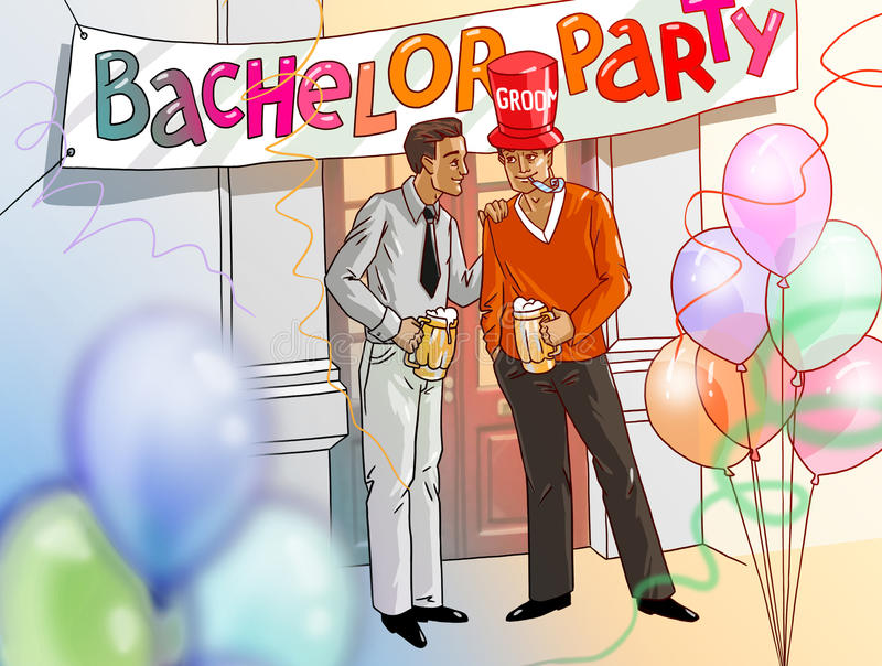 Bachelor party groom and best man drinking beer illustration. Illustration of a bachelor party with groom and best man drinking beer stock illustration