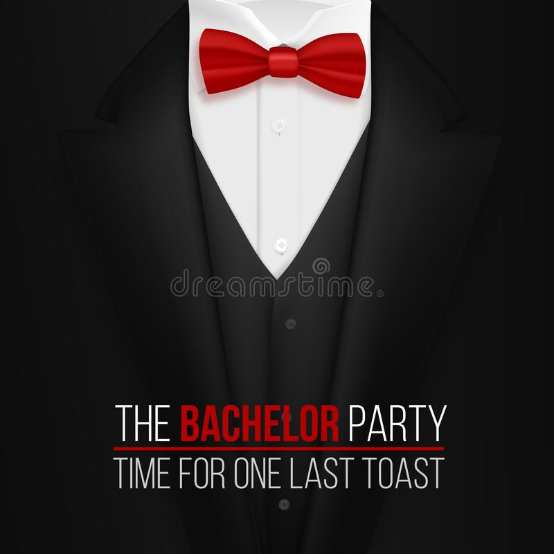 The Bachelor Party Invitation Template. Realistic 3D Vector Black Suit with Bow Tie. Illustration of The Bachelor Party Invitation Template. Realistic 3D Vector vector illustration
