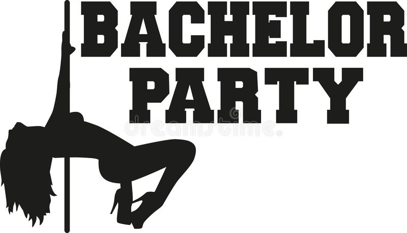 Bachelor party with poledancing girl. Vector stock illustration