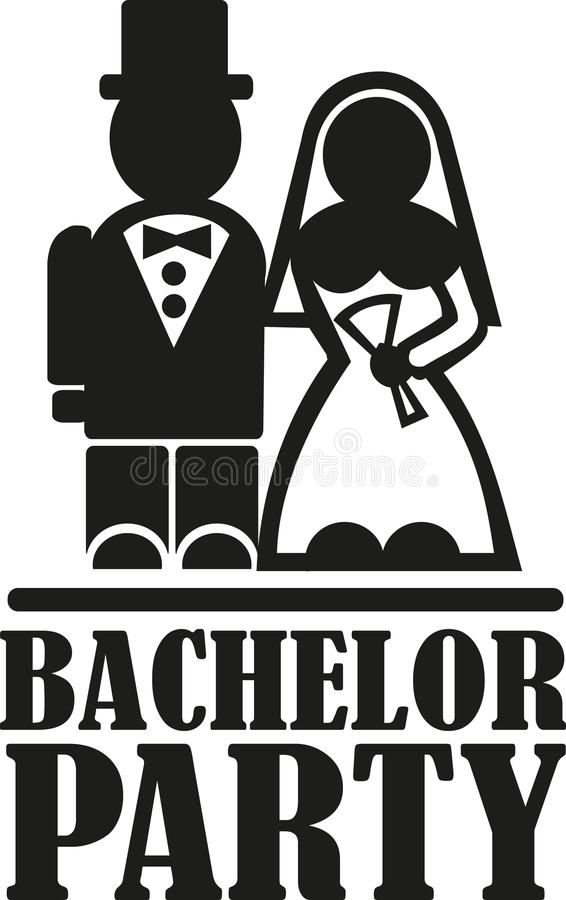 Bachelor party with wedding couple. Vector royalty free illustration