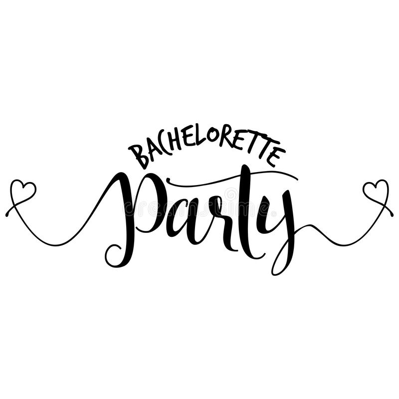 Bachelorette party - Hand letter script engagement party. Sign catch word art design with hearts. Good for scrap booking, posters, textiles, gifts, wedding sets stock illustration