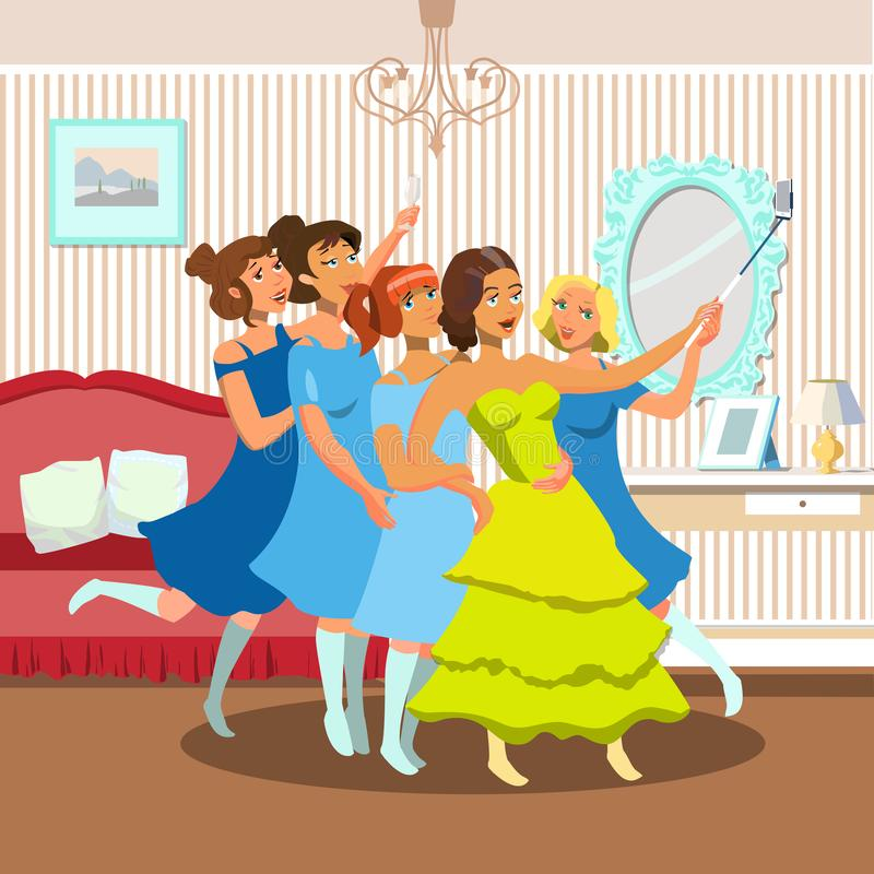 Bachelorette Party. Vector Flat Illustration. royalty free illustration