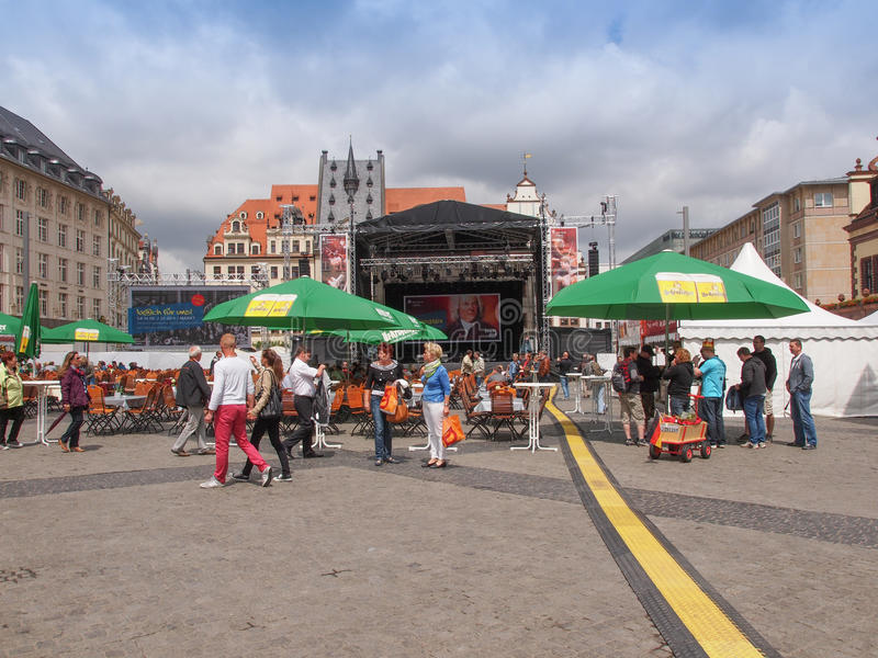 Bachfest Leipzig. LEIPZIG, GERMANY - JUNE 14, 2014: People at the Bachfest annual summer music festival celebrating baroque musician Johann Sebastian Bach in his royalty free stock photo