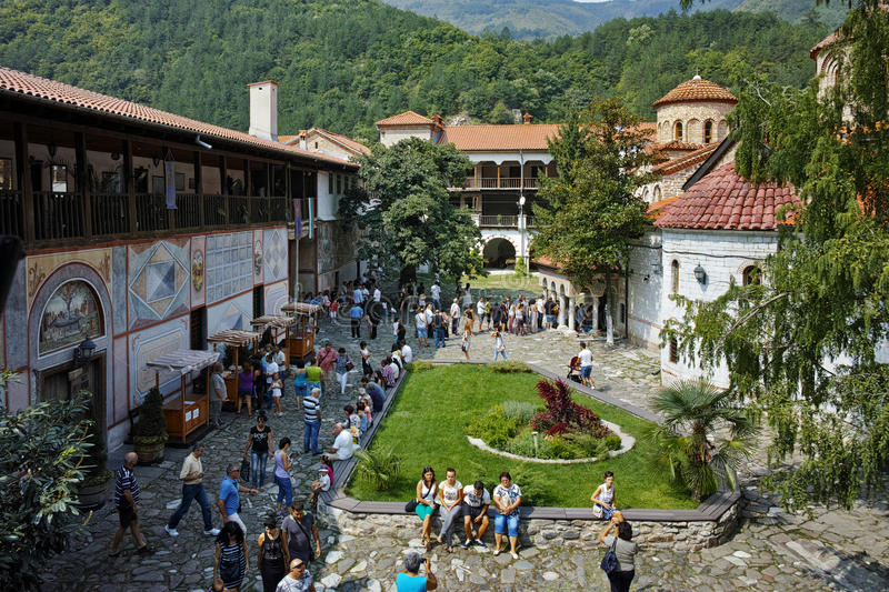 BACHKOVO MONASTERY, BULGARIA - AUGUST 30 2015: Panoramic view of Medieval Bachkovo Monastery. Bulgaria stock photo