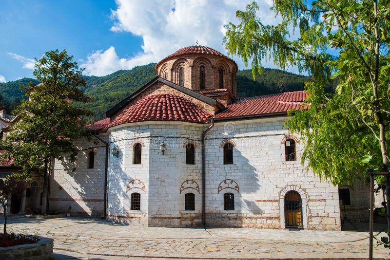 Bachkovo Monastery court yard. Bachkovo Monastery  is a major Eastern Orthodox monastery in Southern Bulgaria. It is located on the right bank of the Chepelare stock photography