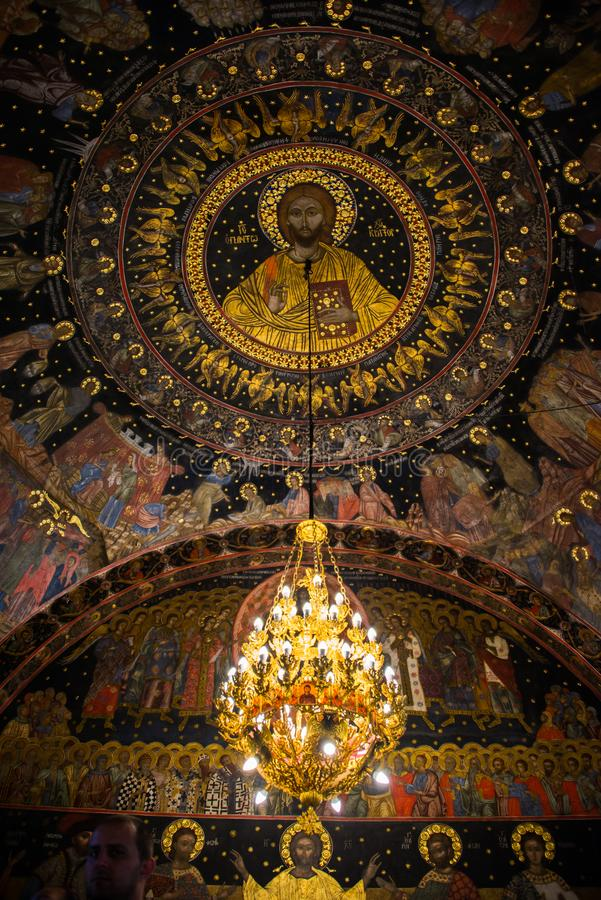 Interior of the Bachkovo Monastery. Jesus looking from above. Bachkovo Monastery is located on the right bank of the Chepelare River, 189 km from Sofia and 10 royalty free stock photos