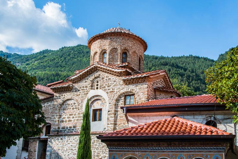 Exterior of the Bachkovo Monastery. Bachkovo Monastery is located on the right bank of the Chepelare River, 189 km from Sofia and 10 km south of Asenovgrad, and stock photo