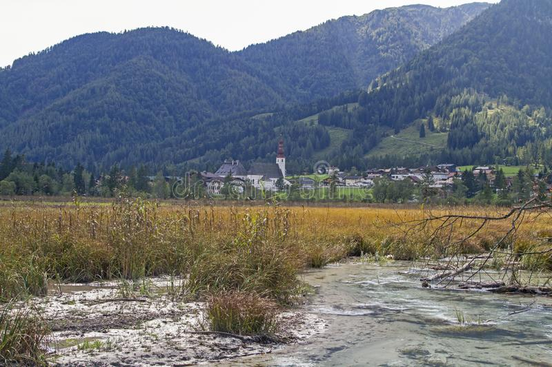 Bachzulauf near lake Pillersee. A clear mountain stream meanders through the wide reed belt to flow into the Pillersee royalty free stock photography