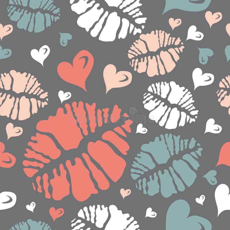 Baci il reticolo del cuore e della stampa illustrazione di stock