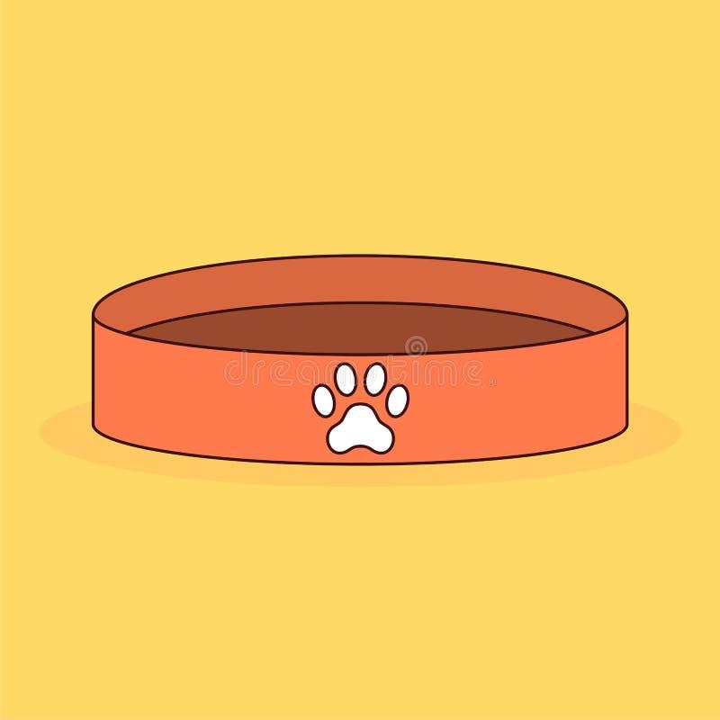 Bacia animal vazia Alimento de cão Paw Print Ilustração do vetor dos desenhos animados ilustração do vetor