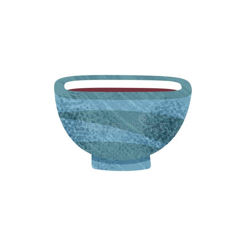 Bacia azul pequena com líquido Copo cerâmico com chá Embarcação bebendo Ícone liso do vetor com textura ilustração do vetor