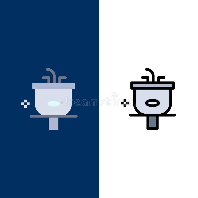Bacia, banheiro, limpeza, chuveiro, ícones da lavagem O plano e a linha ícone enchido ajustaram o fundo azul do vetor ilustração royalty free