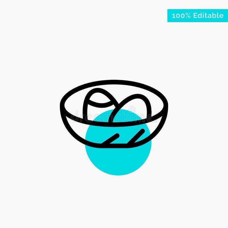 Bacia, celebração, Páscoa, ovo, ícone do vetor do ponto do círculo do destaque de turquesa do ninho ilustração do vetor