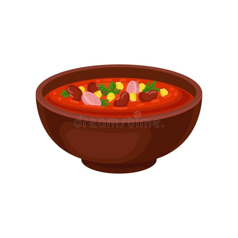 Bacia cerâmica de sopa mexicana picante com feijões, milho e a salsicha cortada Tema culinário Projeto liso do vetor para o menu  ilustração stock