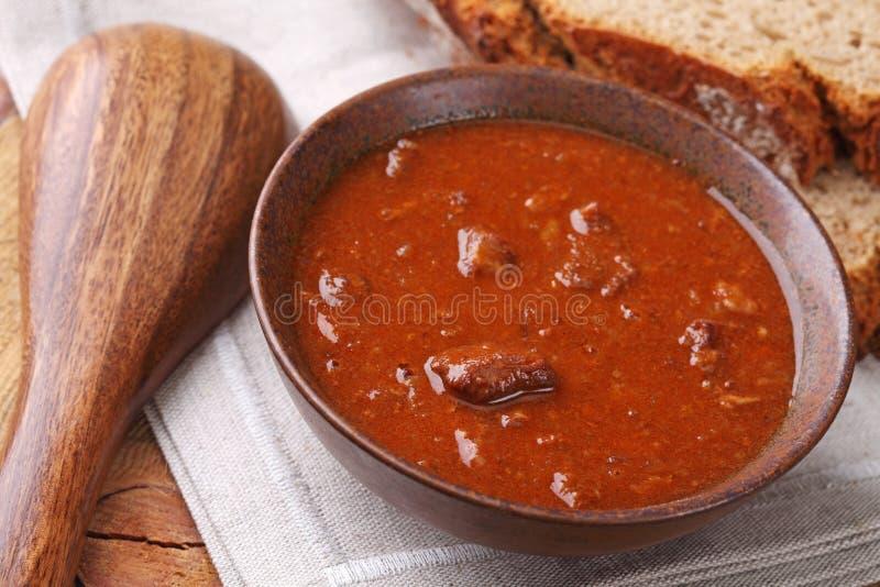 Bacia com sopa de goulash foto de stock