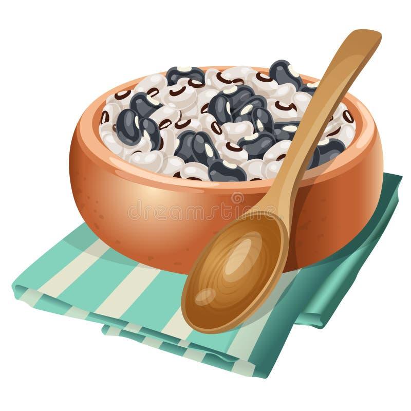 Bacia da argila com os feijões brancos e pretos nela ilustração do vetor