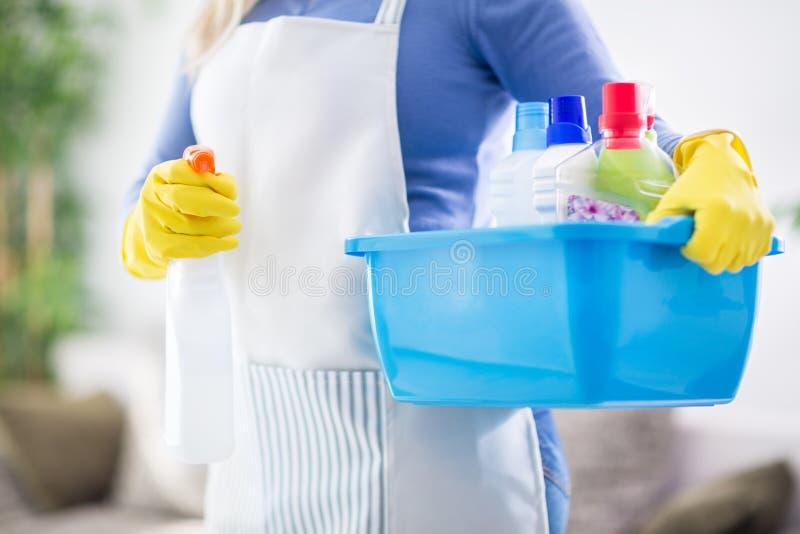 Bacia da posse da mulher com produtos de limpeza foto de stock royalty free