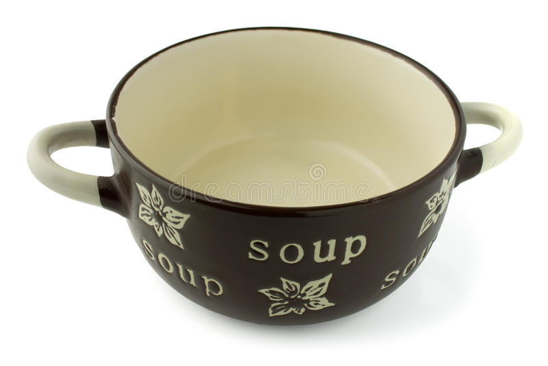 Bacia da vasilha de barro da sopa isolada imagem de stock royalty free