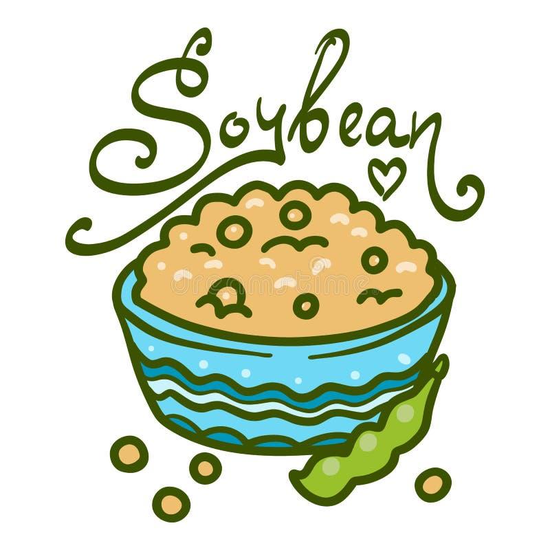 Bacia de ícone do feijão de soja, estilo tirado mão ilustração do vetor
