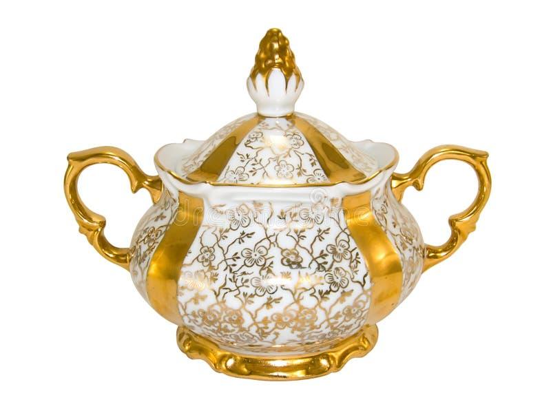 A bacia de açúcar da porcelana de uma antiguidade velha chá-ajustou-se imagens de stock