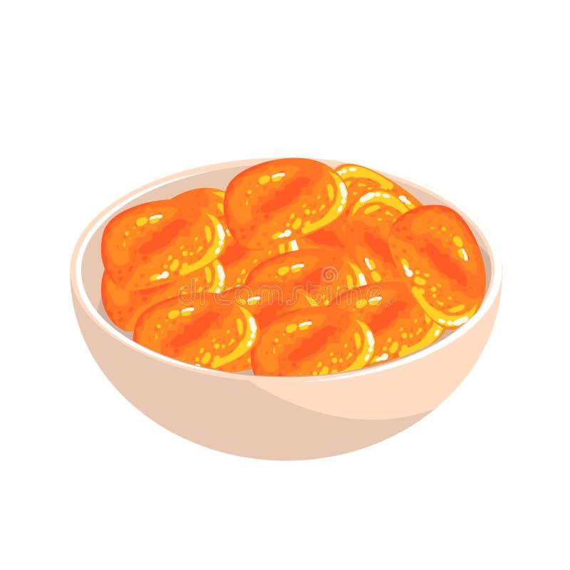 Bacia de abricó secado, alimento Rich In Proteins, elemento importante da ilustração saudável do vetor da dieta equilibrada ilustração stock