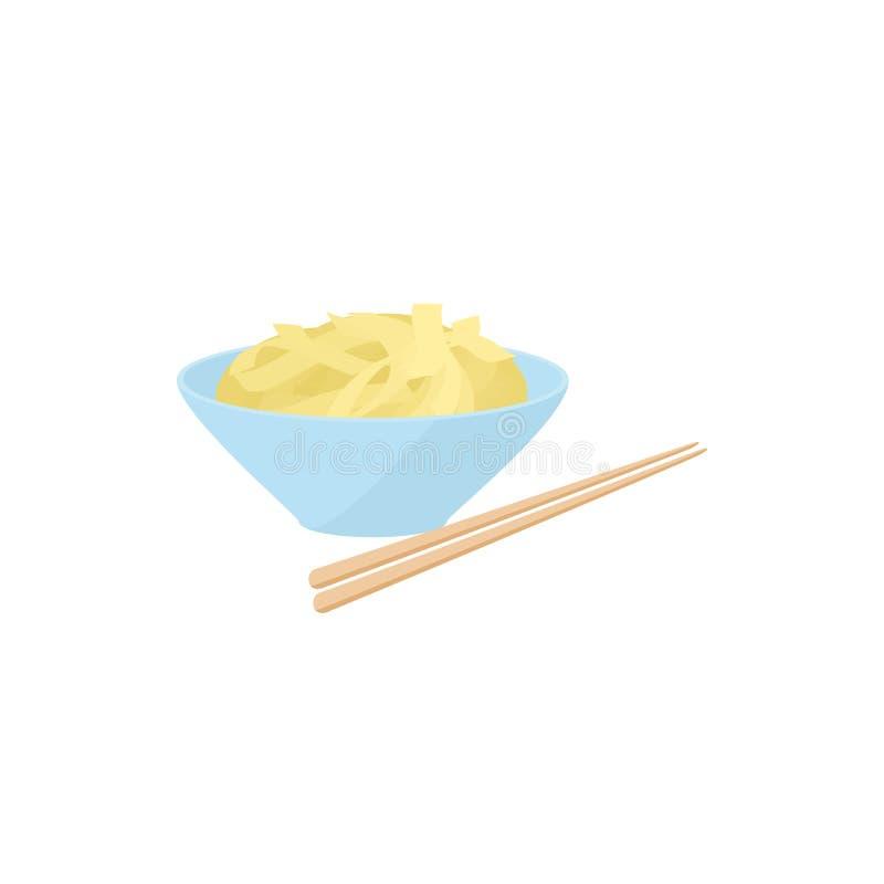 Bacia de arroz com hashis ícone, estilo dos desenhos animados ilustração royalty free