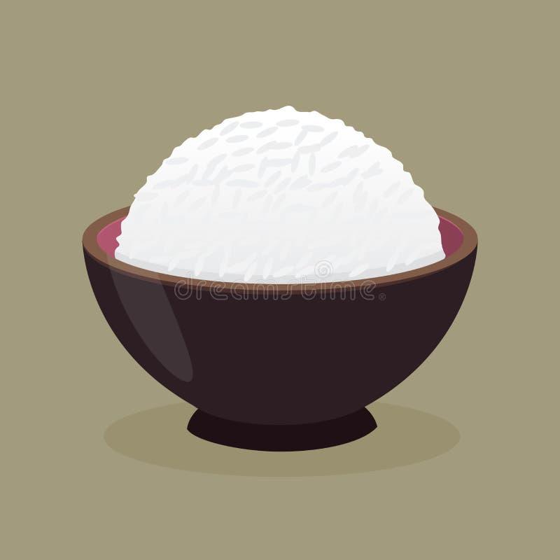 Bacia de arroz cozinhado cozinhado ilustração do vetor