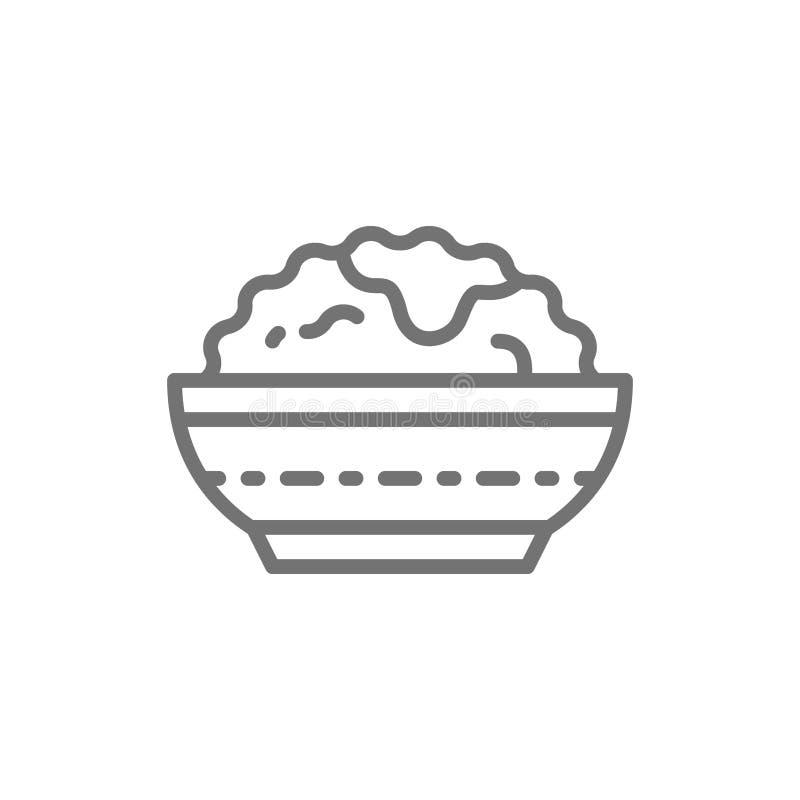 Bacia de arroz, linha japonesa ícone da culinária ilustração do vetor