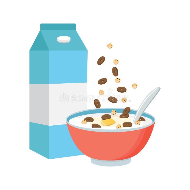 Bacia de cereal com leite, batido isolado no fundo branco Co ilustração stock