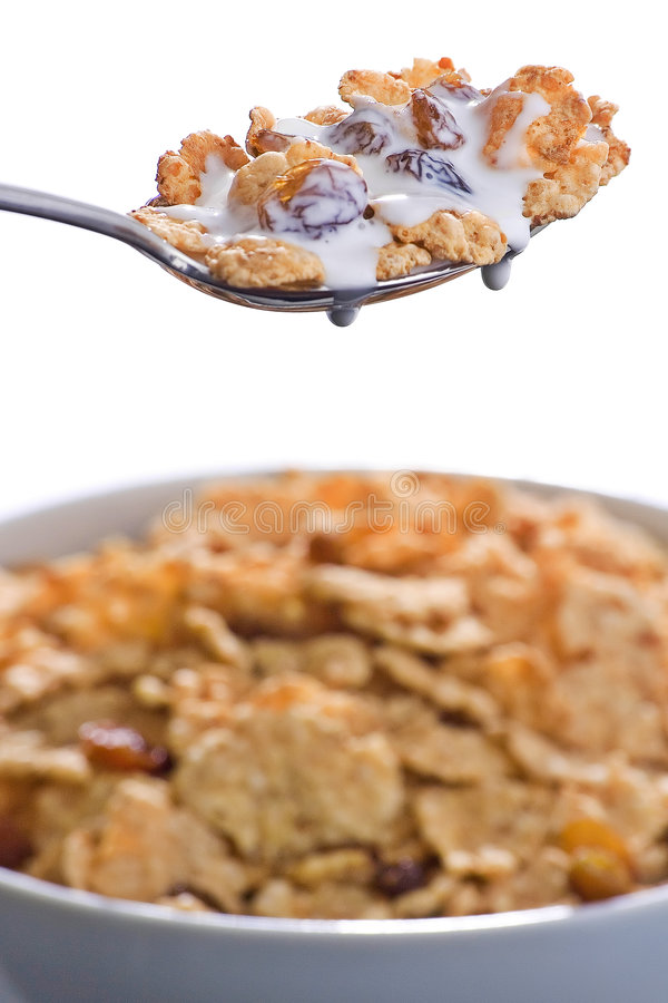 Bacia de cereal com raisins e leite imagem de stock royalty free