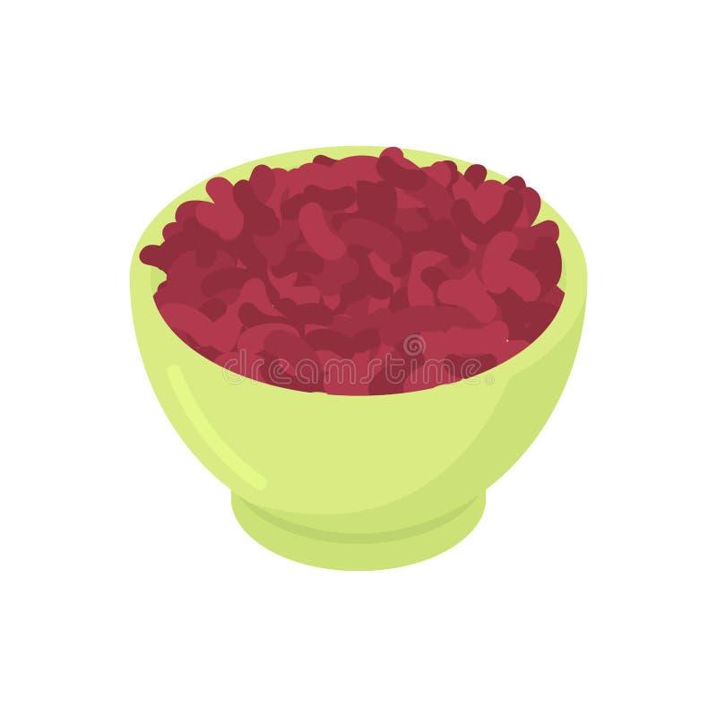 Bacia de cereal do feijão vermelho isolado Alimento saudável para o café da manhã VE ilustração royalty free