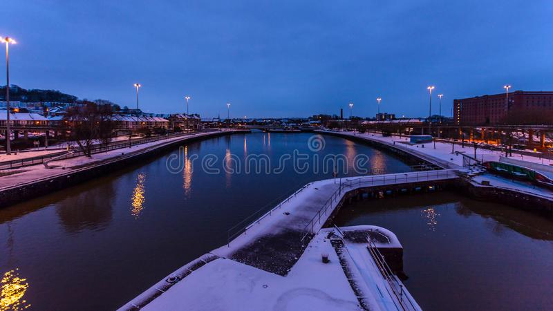 A bacia de Cumberland cobriu na neve A imagens de stock