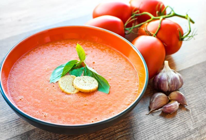 Bacia de gaspacho da sopa do tomate imagem de stock royalty free